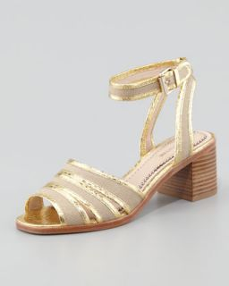 Rylie 2 Canvas & Snake Sandal, Gold