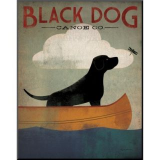 Art   Black Dog Canoe Mounted Print